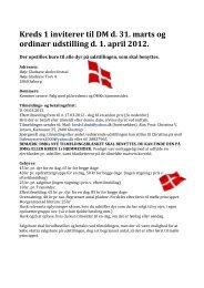 Kreds 1 inviterer til DM d. 31. marts og ordinær udstilling d. 1. april ...