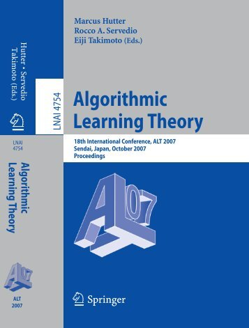 Algorithmic Learning Theory - of Marcus Hutter
