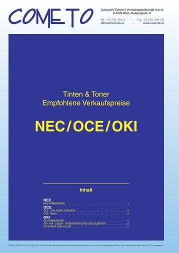 PDF-Katalog NEC, OCE und Oki - Cometo