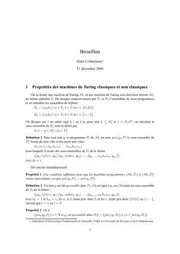 Brouillon - Colmerauer, Alain