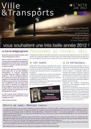 Newsletter n°7 - janvier 2012 - Ville et Transports