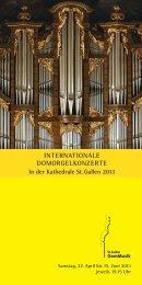 Programmfolder: St. Galler Domorgelkonzerte 2013 - Katholische ...