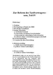 Zur Reform des Tarifvertragswe- sens, Teil IV Gliederung