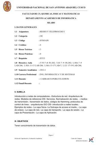 Teoria - Ingeniería Informática y de Sistemas - Universidad Nacional ...