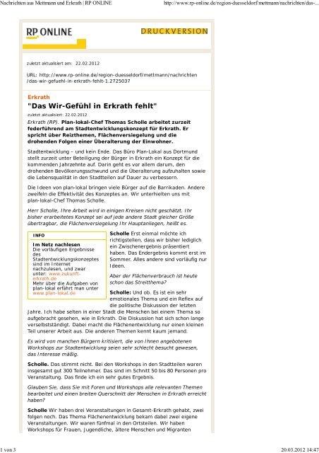 Artikel RP-Online vom 22.02.2012 - Zukunft Erkrath