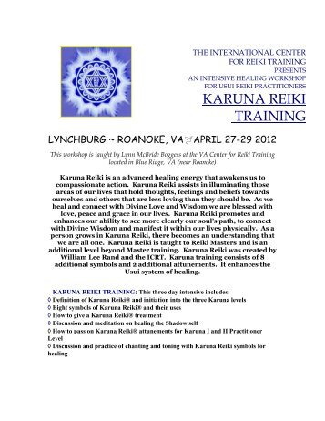 KARUNA REIKI TRAINING - Virginia Center for Reiki Training