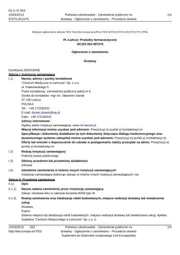 Ogłoszenie o zamówieniu (15.03.2013r.) - Centrum Medyczne w ...