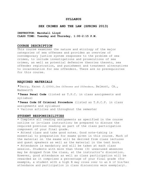 SYLLABUS SEX CRIMES AND THE LAW (SPRING 2013) COURSE