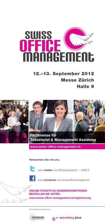 12.–13. September 2012 Messe Zürich Halle 9 - Swiss Office ...