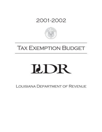 Tax Exemption Budget - Louisiana Department of Revenue