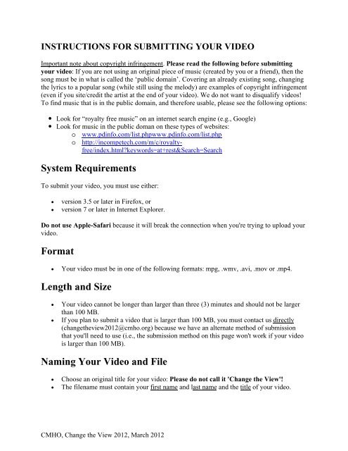 INSTRUCTIONS FOR SUBMITTING YOUR VIDEO