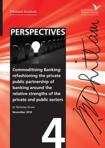 4 PERSPECTIVES Commoditising Banking - Lateral Economics