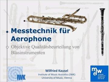 Messtechnik für Aerophone - Objektive Qualitätsbeurteilung von ...