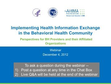 Implementing Health Information Exchange in the Behavioral Health ...