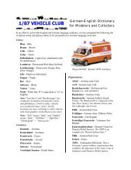German-English Dictionary for Modelers and ... - 1/87 Vehicle Club