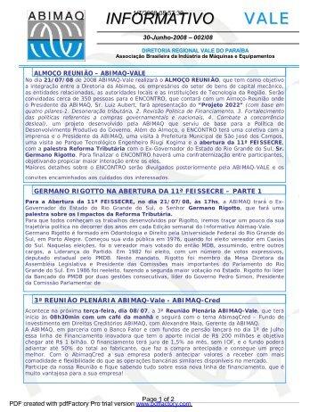 vale informativo - Associação Brasileira da Indústria de Máquinas e ...
