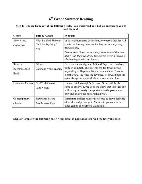 6th Grade Summer Reading - Rosa International Middle School