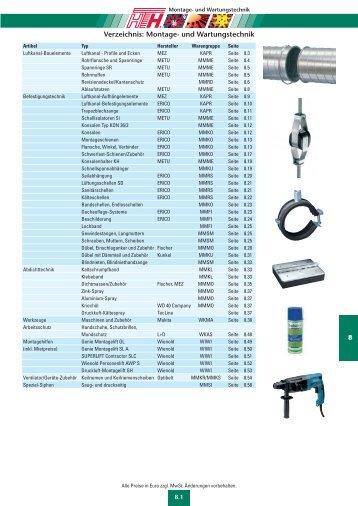 Verzeichnis: Montage- und Wartungstechnik - Felderer