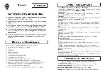 lista de material escolar - 2007 material de uso individual 1ª série ...