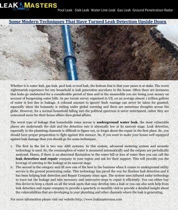 Underground Water Leak Detection