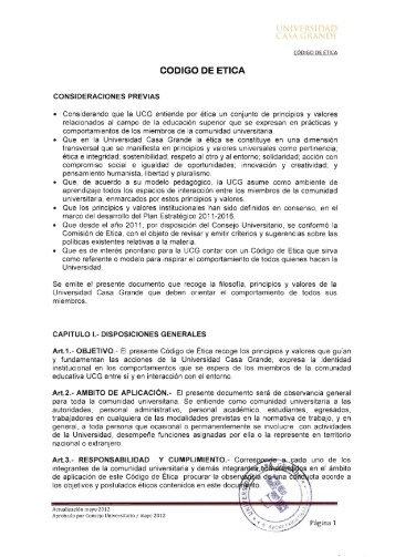 CODIGO DE ETICA 'k, - Universidad Casa Grande
