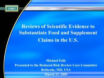 Health Claims for Foods and Dietary Supplements - Life Sciences ...