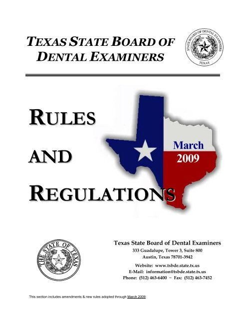 regulations - Texas State Board of Dental Examiners