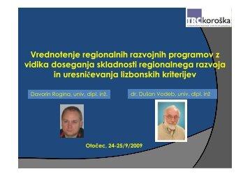 Vrednotenje regionalnih razvojnih programov z vidika ... - ZRC SAZU