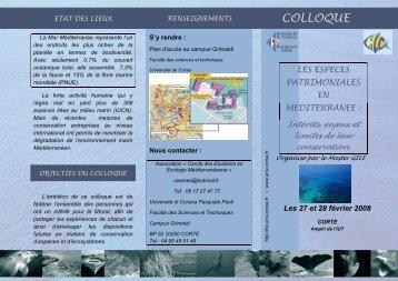 Brochure colloque - Università di Corsica Pasquale Paoli