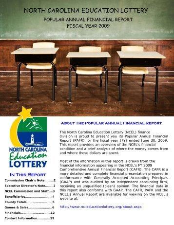 2009 PAFR - North Carolina Education Lottery