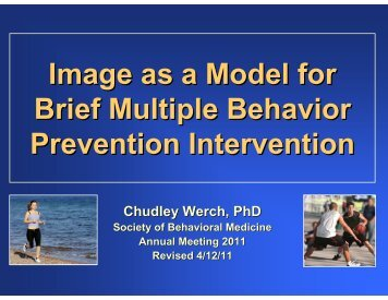 Image as a Model for Brief Multiple Behavior Prevention Intervention