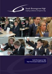 Year 9 Curriculum Guide - South Bromsgrove High School ...