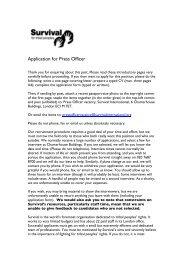 Application for Press Officer - Survival International