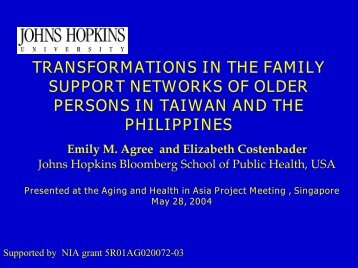 Social Networks of the Aged in Taiwan and the Philippines