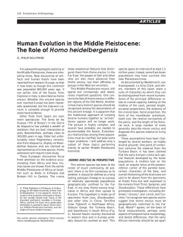 Human Evolution in the Middle Pleistocene