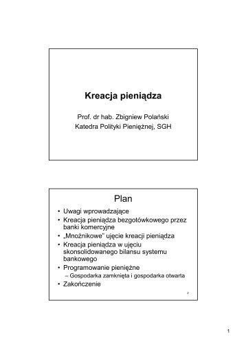 Kreacja pieniądza Plan
