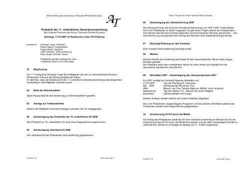 Protokoll der 11. ordentlichen Generalversammlung
