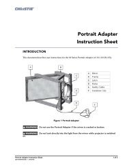 Portrait Adapter Instruction Sheet - Christie Digital Systems