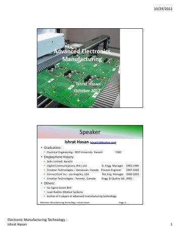 Advanced Electronics Manufacturing Speaker - IEP Karachi Centre