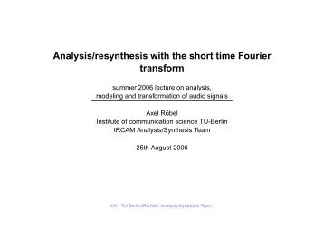 Analysis/resynthesis with the short time Fourier transform