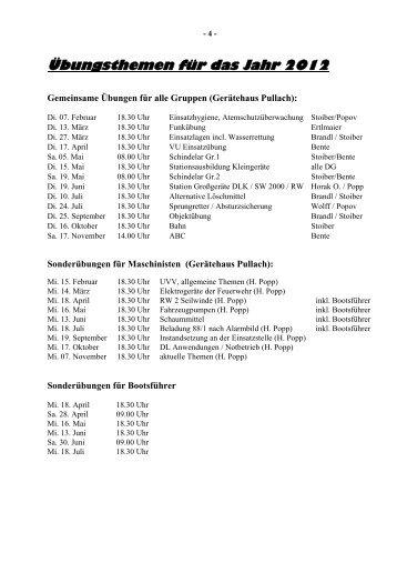 Übungsthemen für das Jahr 2012 - Freiwillige Feuerwehr Pullach