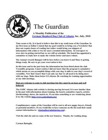 July Guardian - German Shepherd Dog Club of Atlanta