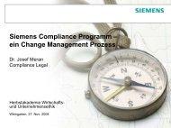 Siemens Compliance Programm – ein Change Management Prozess