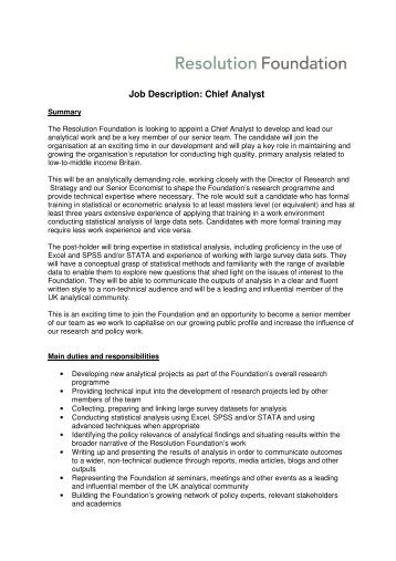 Superior Job Description: Chief Analyst   Resolution Foundation