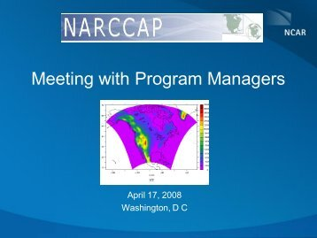 Meeting with Program Managers - NARCCAP