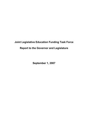 Joint Legislative Education Funding Task Force Report to the ...