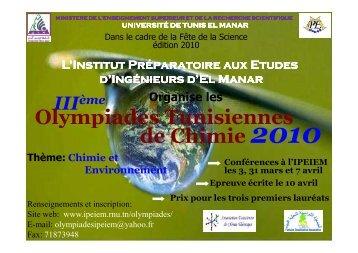 Olympiades Tunisiennes de Chimie : les 3 - Université de Tunis El ...