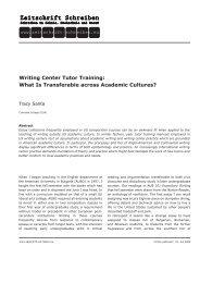 Writing Center Tutor Training - Zeitschrift Schreiben