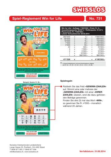 Spiel-Reglement Win for Life No. 731 - Swisslos