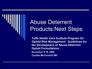 Abuse Deterrent Products - Tufts Health Care Institute